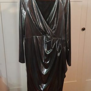 Foil Knit Wrap Like Cocktail Dress